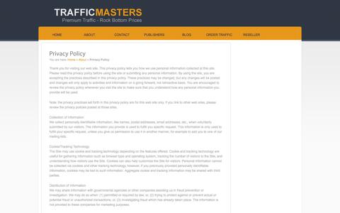 Screenshot of Privacy Page traffic-masters.com - Privacy Policy - captured Oct. 30, 2014