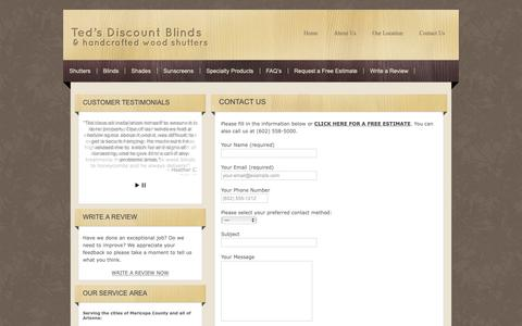 Screenshot of Contact Page tedsdiscountblinds.com - Teds Discount Blinds-Shutters,Blinds-Peoria,AZ-Phoenix,AZ- Ted's Discount Blinds - captured Dec. 9, 2018