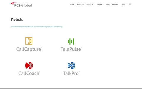 Screenshot of Products Page pcs-global.com - PCS-Global Products - captured Sept. 26, 2014
