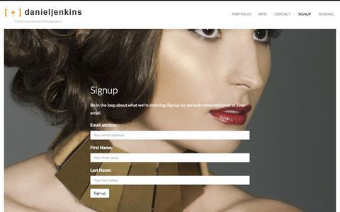 Screenshot of Signup Page danieljenkins.la - Signup — Los Angeles Beauty Photographer Daniel Jenkins - captured Oct. 5, 2014