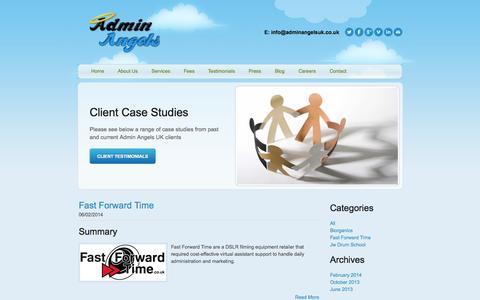 Screenshot of Case Studies Page adminangelsuk.co.uk - Admin Angels UK - Case Studies - captured Sept. 30, 2014