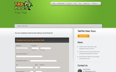 Screenshot of Trial Page tabpilot.com - Free Trial | TabPilot - captured Nov. 3, 2014