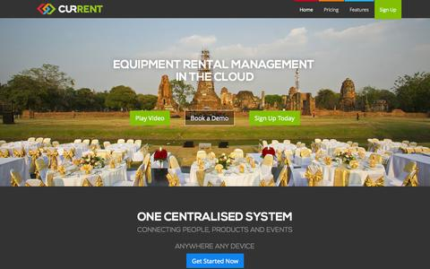 Screenshot of Home Page current-rms.com - Current RMS | Cloud Equipment Rental Software - captured Jan. 27, 2015