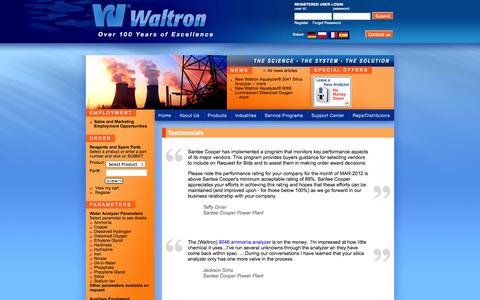 Screenshot of Testimonials Page waltron.net - Waltron - Corporate - captured Oct. 27, 2014