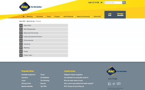 Screenshot of Site Map Page rac.com.au - Site map - captured Oct. 27, 2014