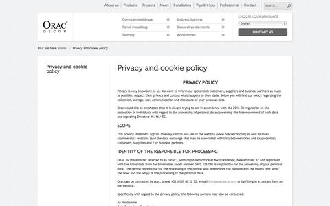Screenshot of Privacy Page oracdecor.com - Privacy and cookie policy  | Orac Decor - captured Sept. 23, 2018