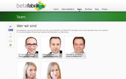 Screenshot of Team Page betafabrik.de - betafabrik - ein Team für Entwicklung, Business Administration & Recruiting | betafabrik | creating exciting companies - captured Oct. 5, 2014