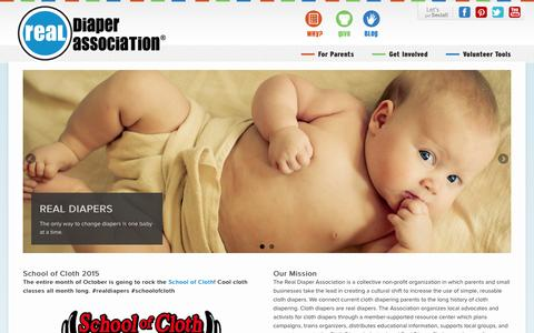 Screenshot of Home Page Site Map Page realdiapers.org - The only way to change diapers is one baby at a time. Real Diaper Association - captured Feb. 18, 2016