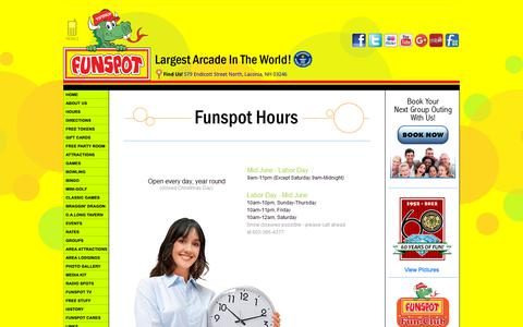 Screenshot of Hours Page funspotnh.com - Funspot...The Spot for Fun! - captured Oct. 26, 2018