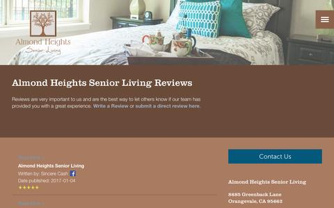 Screenshot of Testimonials Page milestoneretirement.com - Senior Living Resources | Almond Heights Senior Living - captured Jan. 25, 2017