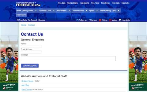 Screenshot of freebets.com - Contact Freebets.com - captured Oct. 3, 2015