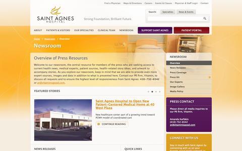 Screenshot of Press Page stagnes.org - Saint Agnes Hospital | Newsroom | Overview - captured Oct. 22, 2014