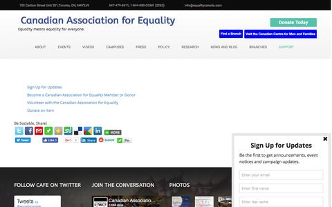 Screenshot of Support Page equalitycanada.com - Support - Canadian Association for Equality - captured Oct. 18, 2016