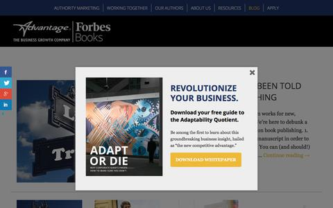 Screenshot of Blog advantagefamily.com - Authority Marketing Blog • Sponsored by Advantage|ForbesBooks - captured Sept. 25, 2018