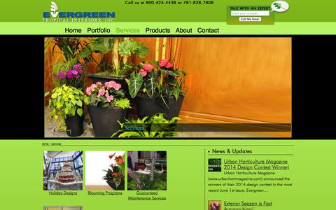 Screenshot of Services Page evergreenti.com - Plant Care & Landscaping Service in Boston & Cambridge MA | Evergreen Tropical Interiors Inc - captured Oct. 3, 2014