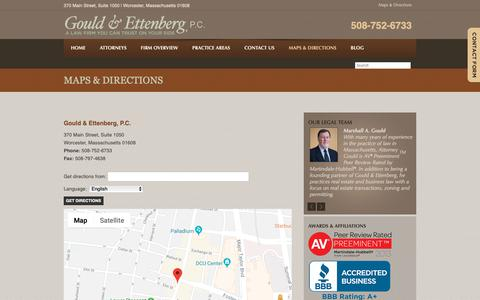 Screenshot of Maps & Directions Page gouldettenberg.com - Map & Directions   Gould & Ettenberg, P.C. - captured Dec. 15, 2018