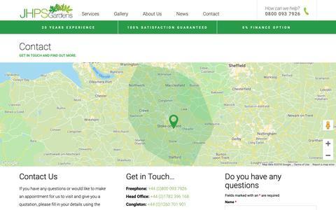 Screenshot of Contact Page jhps-gardens.co.uk - Contact Us - JHPS Gardens Ltd - Garden Maintenance and Landscaping : JHPS - captured Oct. 1, 2018