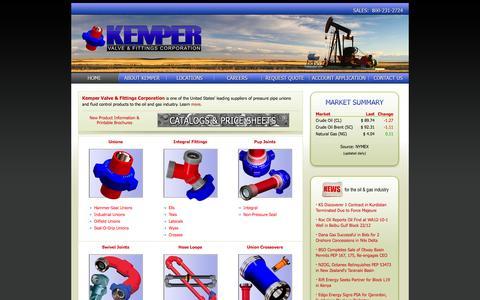 Screenshot of Home Page kempervalve.com - Kemper Valve & Fittings Corp. - Home - captured Oct. 6, 2014