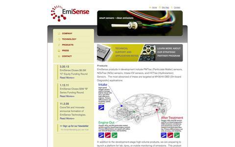 Screenshot of Products Page emisense.com - EmiSense Technologies, LLC: Smart Sensors - Products   Emisense - captured Sept. 12, 2014