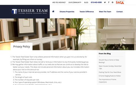 Screenshot of Privacy Page tessierteam.ca - Our Privacy Policy - Tessier Team Real Estate - captured Jan. 11, 2016