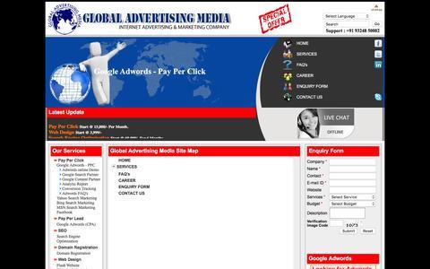 Screenshot of Site Map Page globaladvertisingmedia.com - Global Advertising Media - Google Adwords Authorised Reseller Mumbai India Google Adwords Mumbai, PPC Mumbai, CPC Mumbai, Web Design Mumbai, SEO Mumbai, Web Hosting Mumbai,Domain Reservation Mumbai, online advertisement online advertisement ahmedabad - captured Jan. 16, 2016