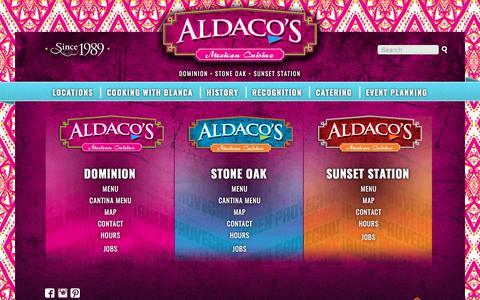 Screenshot of Locations Page aldacosrestaurants.com - Locations | Aldacos Mexican Cuisine - captured Oct. 7, 2017