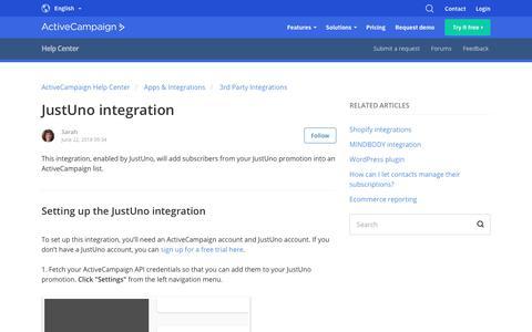 Screenshot of Support Page activecampaign.com - JustUno integration – ActiveCampaign Help Center - captured June 18, 2019