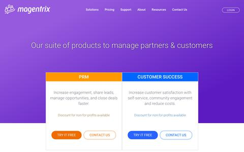 Screenshot of Pricing Page magentrix.com - Best in class PRM, Customer Success solutions pricing | Magentrix - captured May 23, 2019
