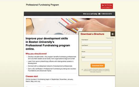 Screenshot of Landing Page bu.edu - Center for Professional Education | Boston University - captured April 13, 2018