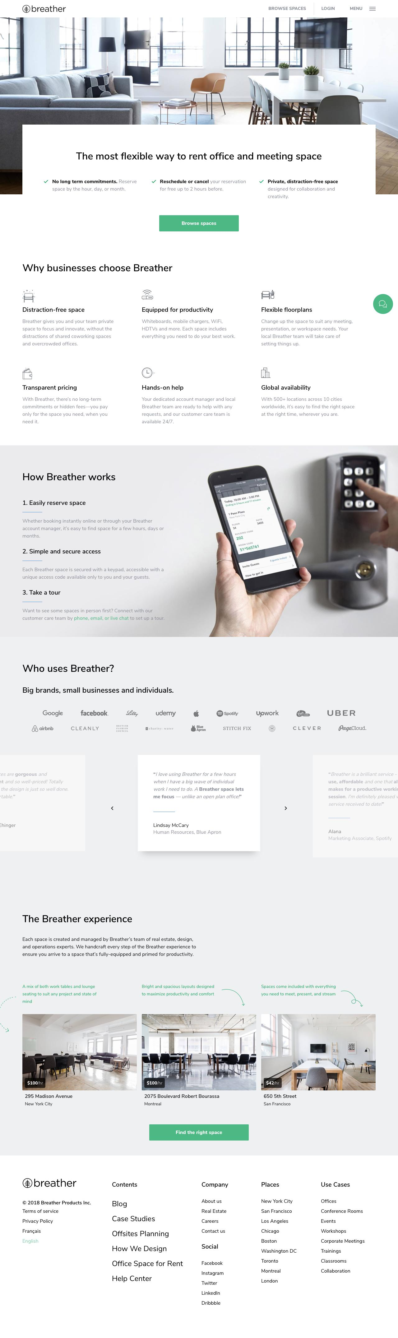 Screenshot of breather.com - Breather - A space to work, meet and focus - captured May 26, 2018