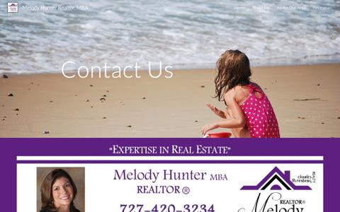 Screenshot of Contact Page google.com - Melody Hunter Realtor, MBA - Contact Us - captured Sept. 3, 2017