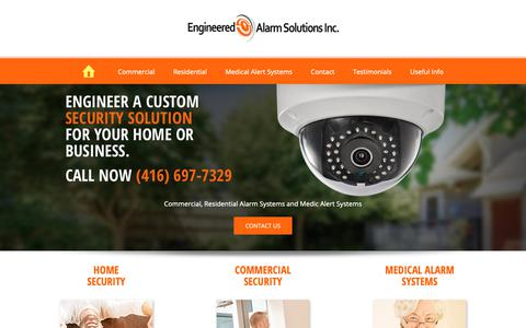 Screenshot of Home Page engineeredalarm.com - Home and Commercial Security Systems Toronto and Vaughan - captured Sept. 28, 2018