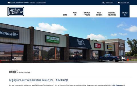 Screenshot of Jobs Page furniturerentals.com - Career Opportunities | Mt Pleasant - Savannah - Augusta - Columbia - captured Oct. 11, 2018