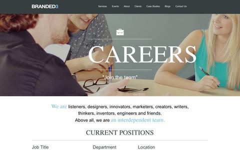 Screenshot of Jobs Page branded3.com - Branded3 -  Job Board - captured Sept. 18, 2014