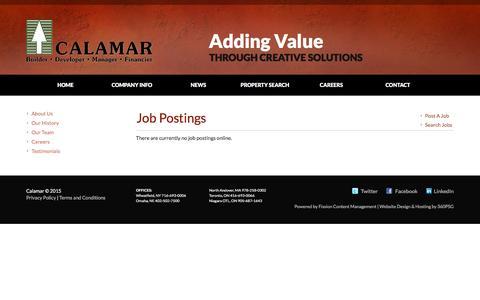 Screenshot of Jobs Page calamar.com - Job Board - View Job Postings - captured July 8, 2016