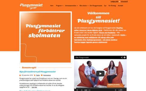 Screenshot of Home Page plusgymnasiet.se - Plusgymnasiet - captured Oct. 3, 2014