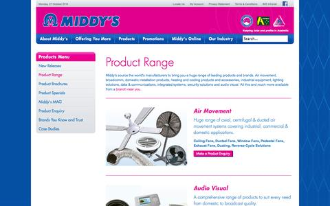 Screenshot of Products Page middys.com.au - Product Range - Electrical & Data Supplies Wholesaler - captured Oct. 27, 2014
