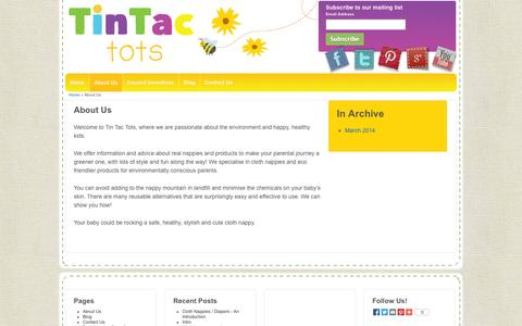 Screenshot of About Page tintactots.com - About Us - Infomation and advice about Real Nappies - captured Oct. 7, 2014