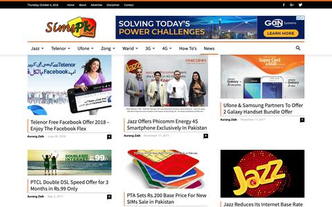 Screenshot of Press Page simspk.com - Telecom News in Pakistan - captured Oct. 4, 2018