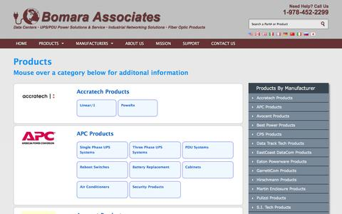 Screenshot of Products Page bomara.com - Bomara Associates a direct sales & support office for these products: - captured Nov. 23, 2016