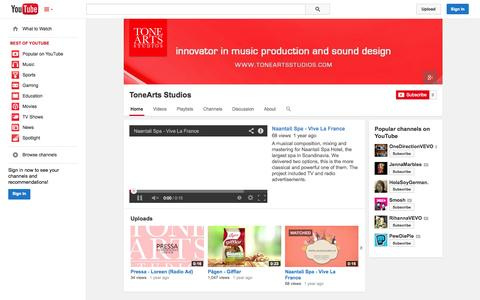 Screenshot of YouTube Page youtube.com - ToneArts Studios  - YouTube - captured Oct. 26, 2014