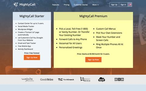Screenshot of Pricing Page mightycall.com - Pricing Plans | MightyCall - captured Oct. 10, 2014