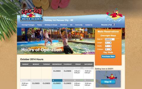 Screenshot of Hours Page cocokeykansascity.com - Hours   CoCo Key Water Resort - captured Oct. 8, 2014