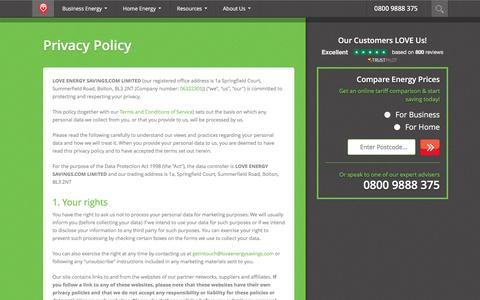 Screenshot of Privacy Page loveenergysavings.com - Privacy Policy | Love Energy Savings - captured Dec. 13, 2015