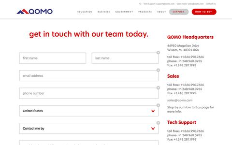 Screenshot of Contact Page qomo.com - Contact Us | Tech Support | Customer Service | QOMO - captured July 4, 2018