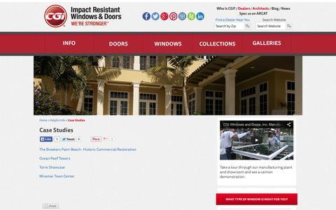 Screenshot of Case Studies Page cgiwindows.com - Case Study on Selecting and Installing Hurricane Windows : CGI Windows - captured Oct. 1, 2014