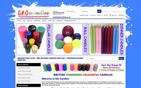 Screenshot of Home Page glocandles.co.uk - Hand poured Pillar candles & Scented Candles in a wide range of colours - captured Sept. 30, 2014