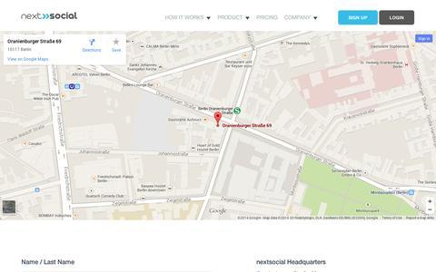 Screenshot of Contact Page nextsocial.io - Contact Us | nextsocial - captured Sept. 11, 2014