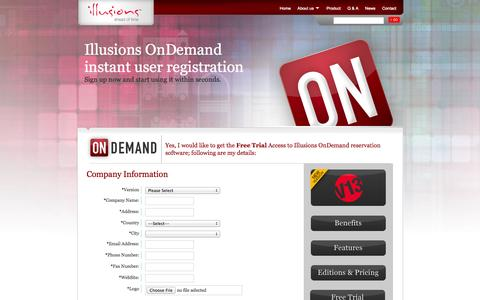 Screenshot of Trial Page illusions-online.com - Tour Operator & DMC software - Illusions Online Travel Technology - OnDemand Registration - captured Sept. 23, 2014