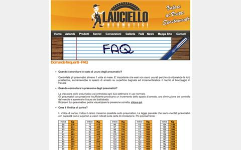Screenshot of FAQ Page lauciellopneumatici.it - [ Lauciello Pneumatici ] - Domande frequenti - FAQ - captured Oct. 2, 2014
